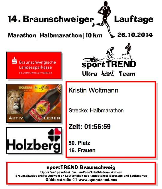 Erster Halbmarathon Urkunde