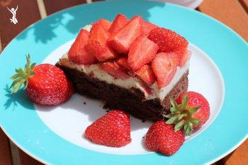 Rezept für vegane Erdbeer-Brownies
